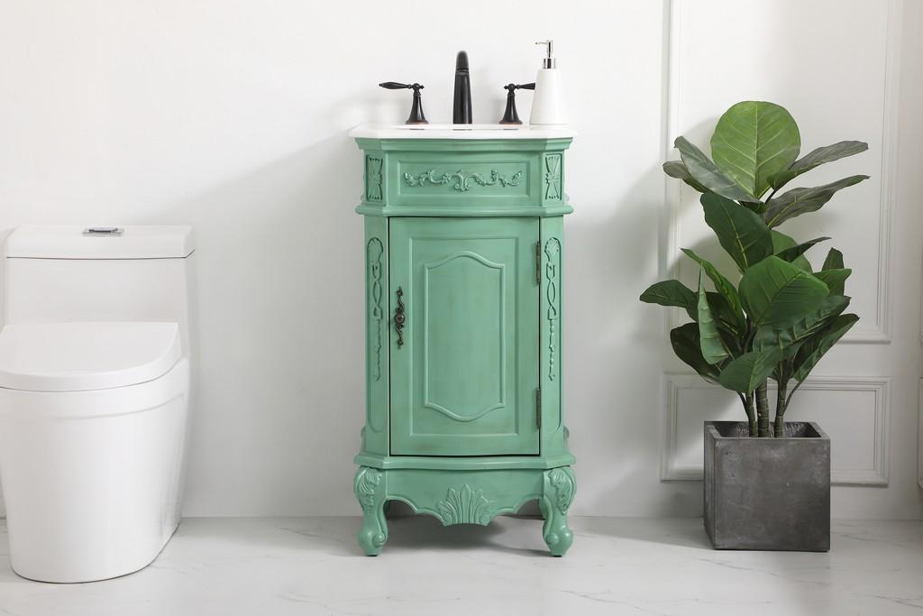 19 inch single bathroom vanity in vintage mint - Elegant Lighting VF10119VM