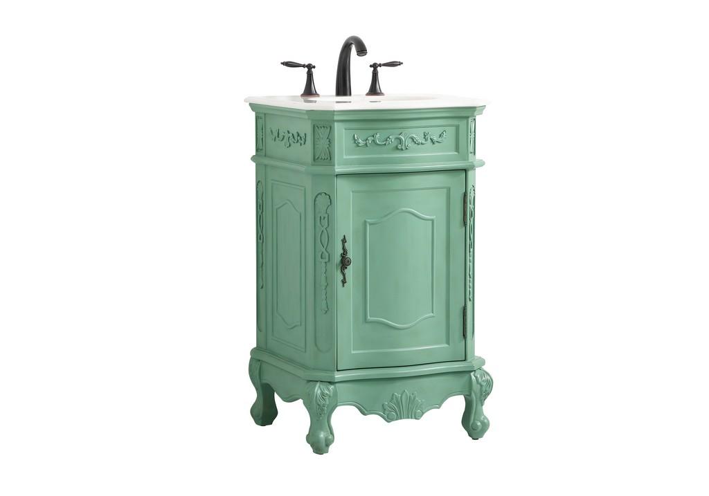 21 inch single bathroom vanity in vintage mint - Elegant Lighting VF10121VM