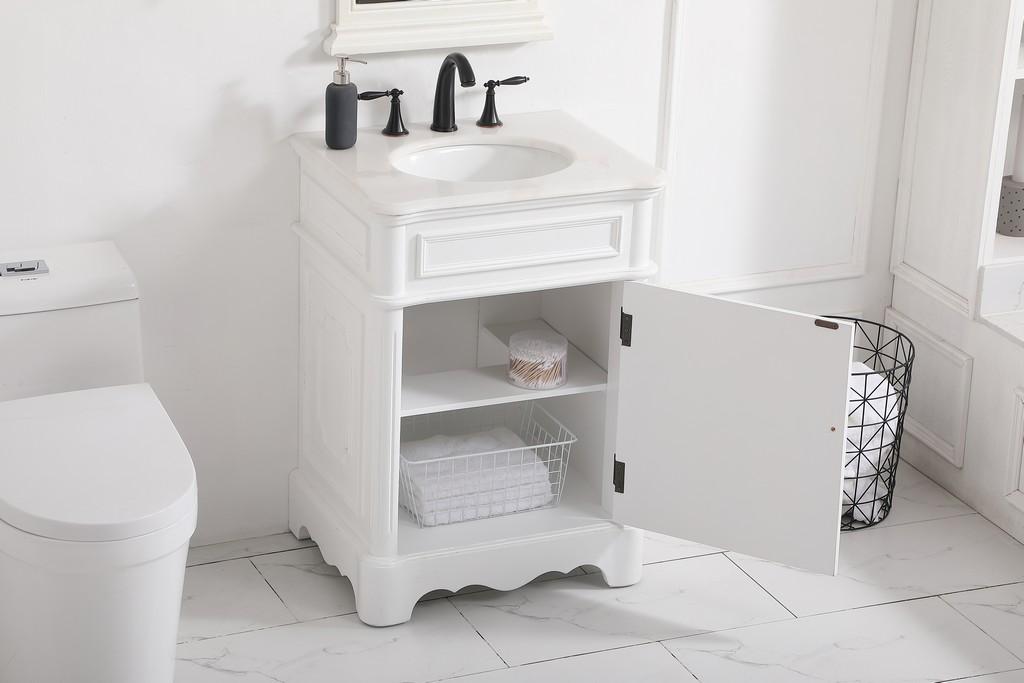 24 inch single bathroom vanity in Antique White - Elegant Lighting VF30424AW
