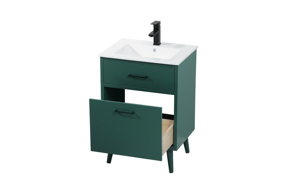 24 inch bathroom vanity in Green - Elegant Lighting VF41024MGN