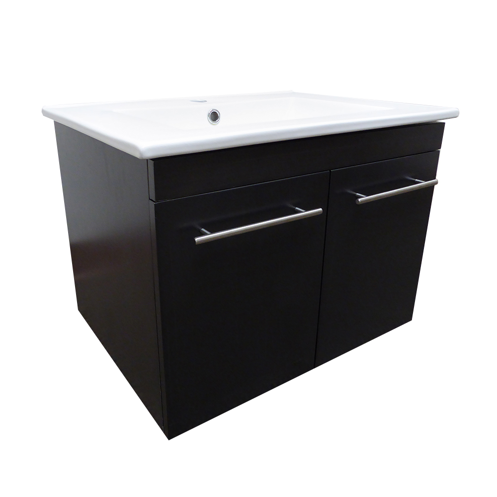24.4 in Single wall mount style sink vanity-wood- gunstock - BellaTerra 203172-GK