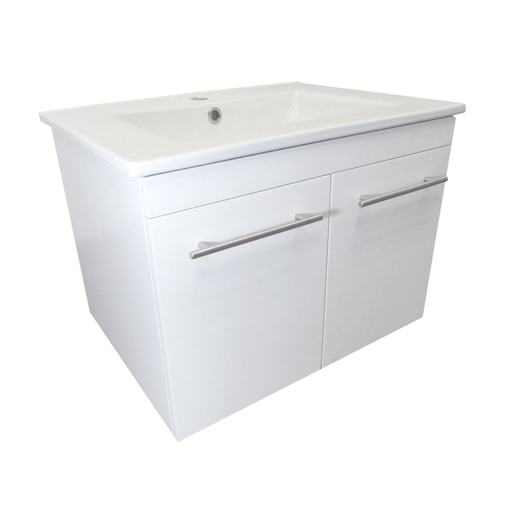 24.4 in Single wall mount style sink vanity-wood- white - BellaTerra 203172-WH