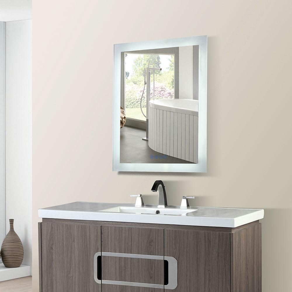24 in. Rectangular LED Bordered Illuminated Mirror with Bluetooth Speakers - BellaTerra 801071-M-24