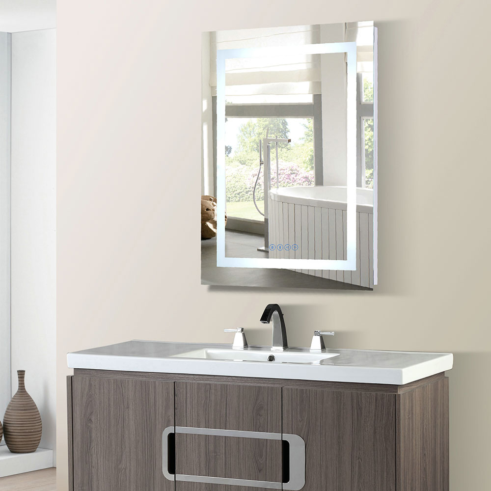 24 in. Rectangular LED Bordered Illuminated Mirror with Bluetooth Speakers - BellaTerra 808454-M-24