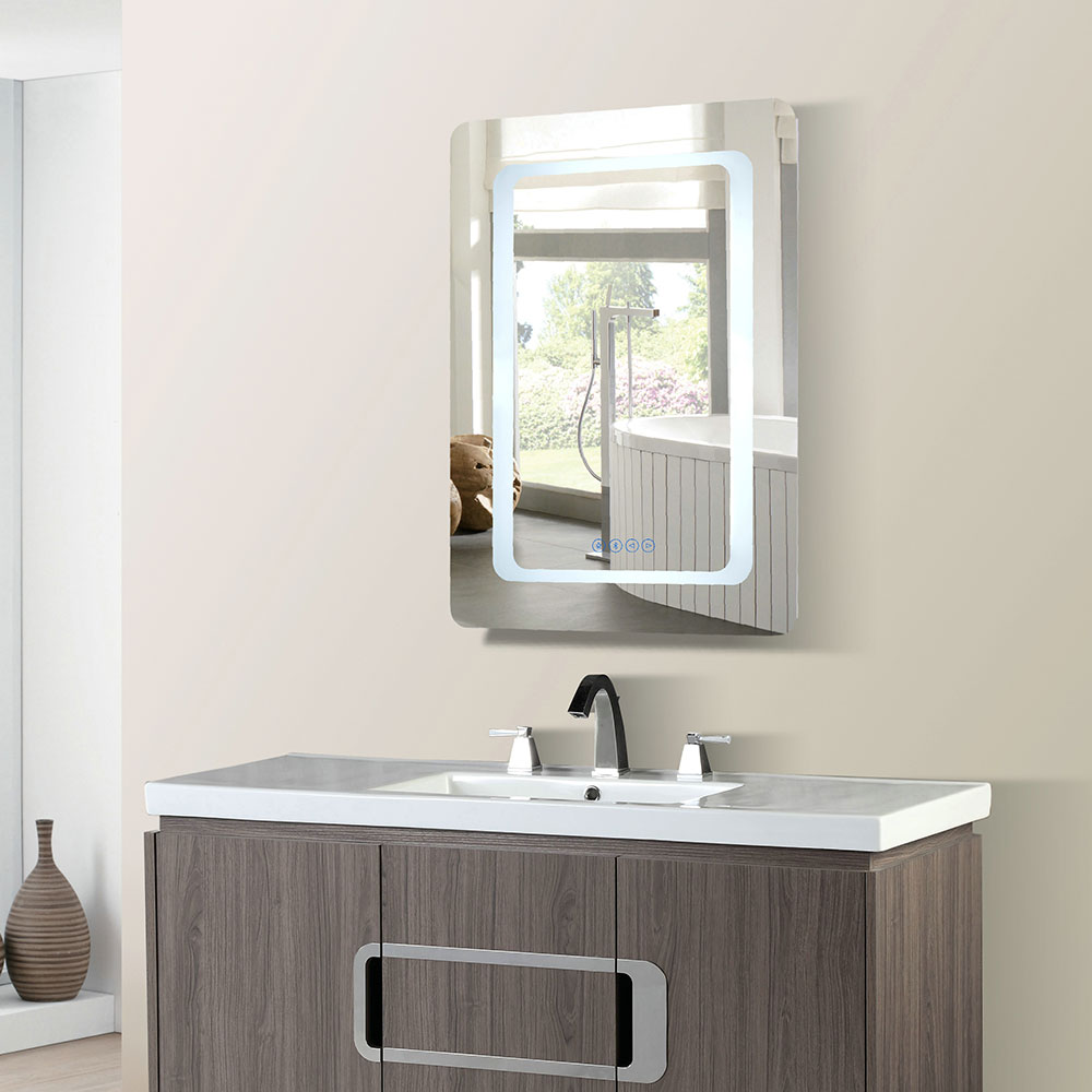 24 in. Rectangular LED Bordered Illuminated Mirror with Bluetooth Speakers - BellaTerra 808485-M-24