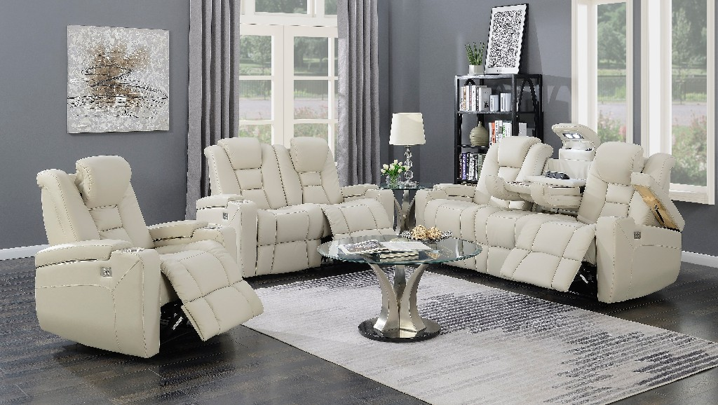 Myco Transformers Leather Power Recliner Loveseat Taupe