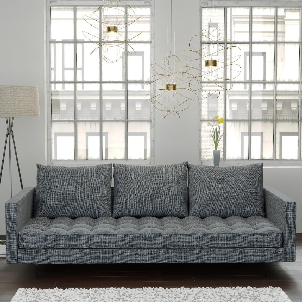 Manhattan Comfort Granville Sofa Light Grey Tweed