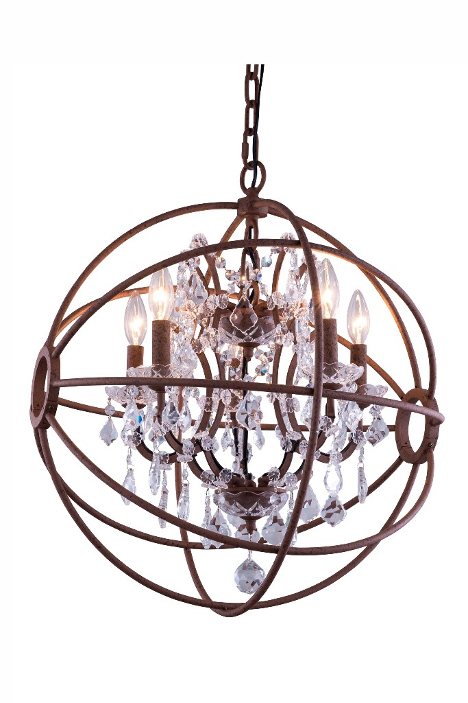 Elegant Lighting Light Rustic Intent Pendant Clear Royal Cut Crystal