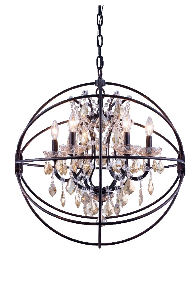 Elegant Lighting Light Dark Bronze Chandelier Golden Teak Smoky Royal Cut Crystal