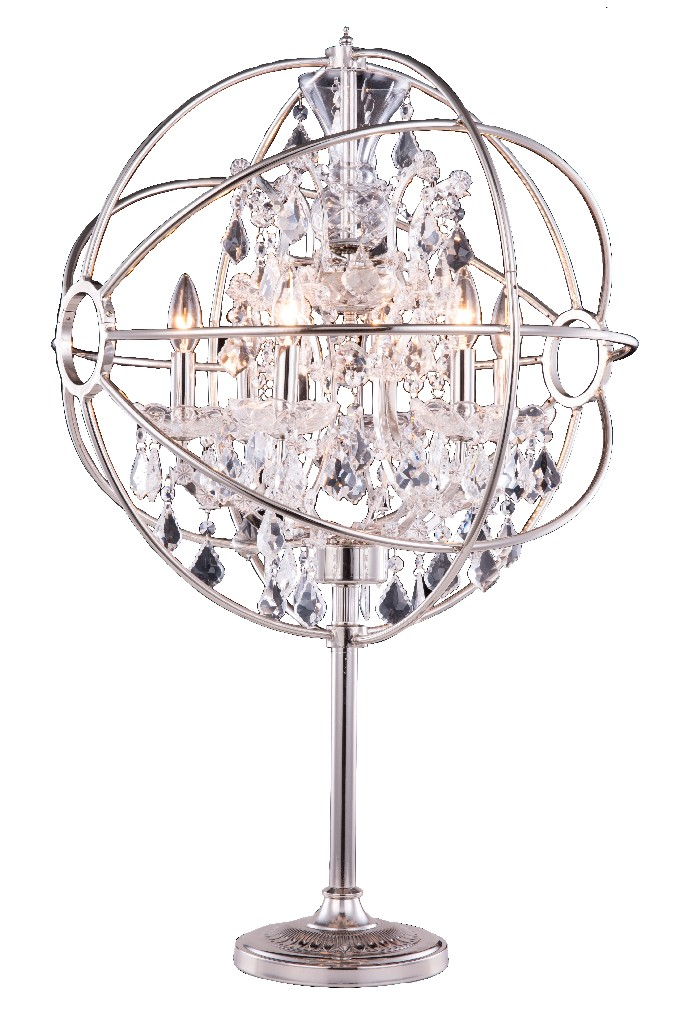 Elegant Lighting Light Polished Nickel Table Lamp Clear Royal Cut Crystal