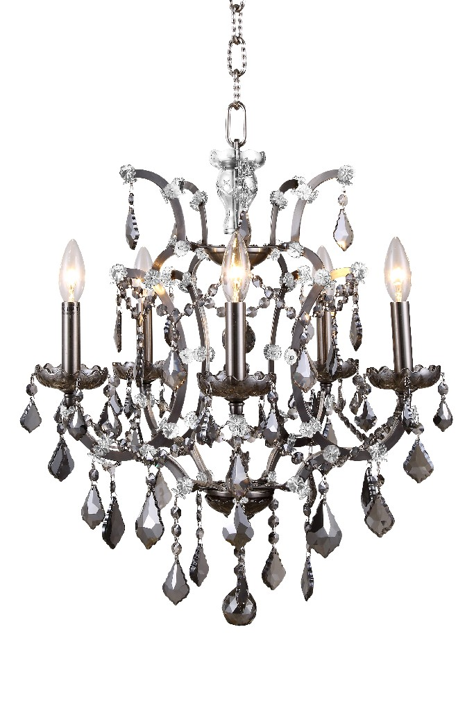 Elegant Lighting Light Raw Steel Pendant Silver Shade Grey Royal Cut Crystal