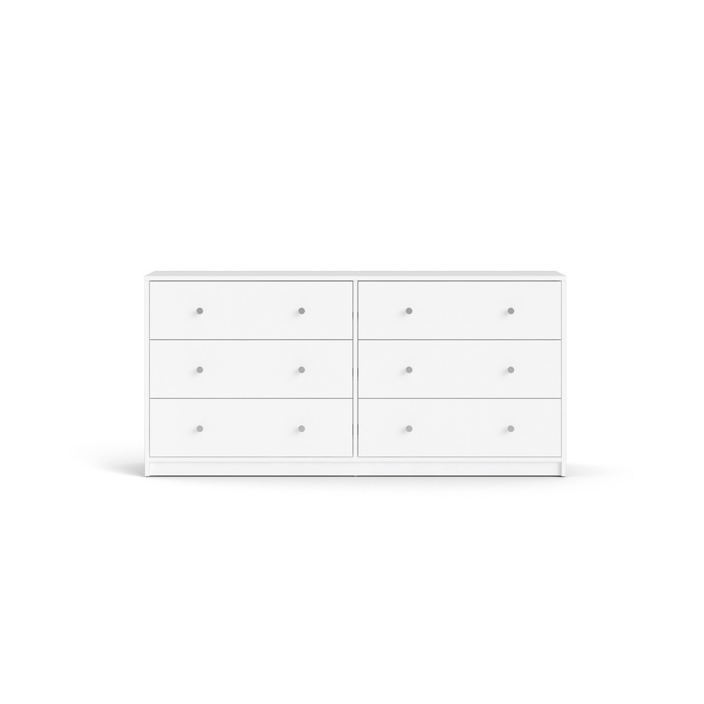 Portland 6 Drawer Double Dresser in White - Tvilum 703284949 Image