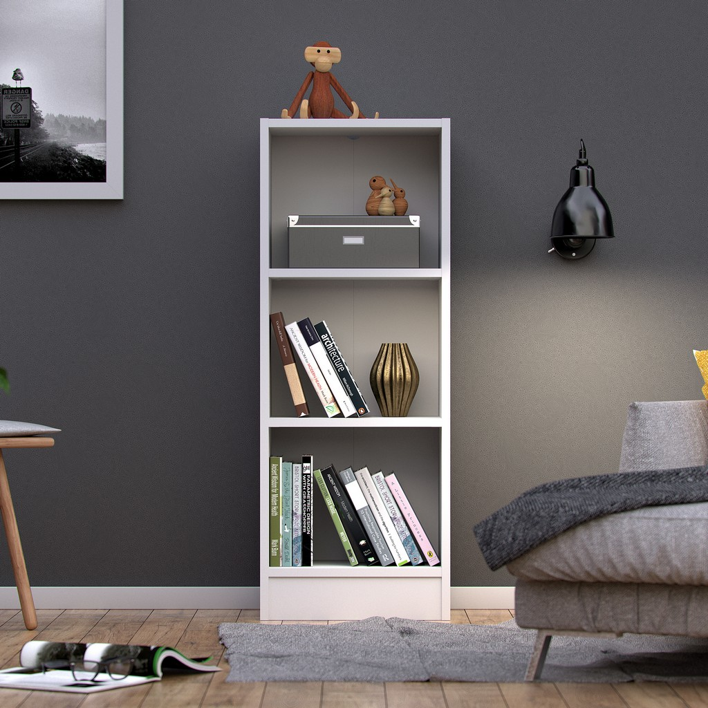 Element Short Narrow 3 Shelf Bookcase in White - Tvilum 7177449