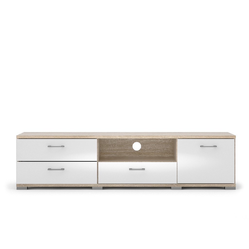 Homeline 3 Drawer TV Stand with 1 Door in Oak Struture and White High Gloss - Tvilum 79941akuu