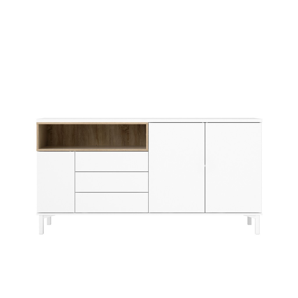 Aberdeen 3 Drawer and 3 Door Sideboard in White/Oak Structure - Tvilum 9217849ak