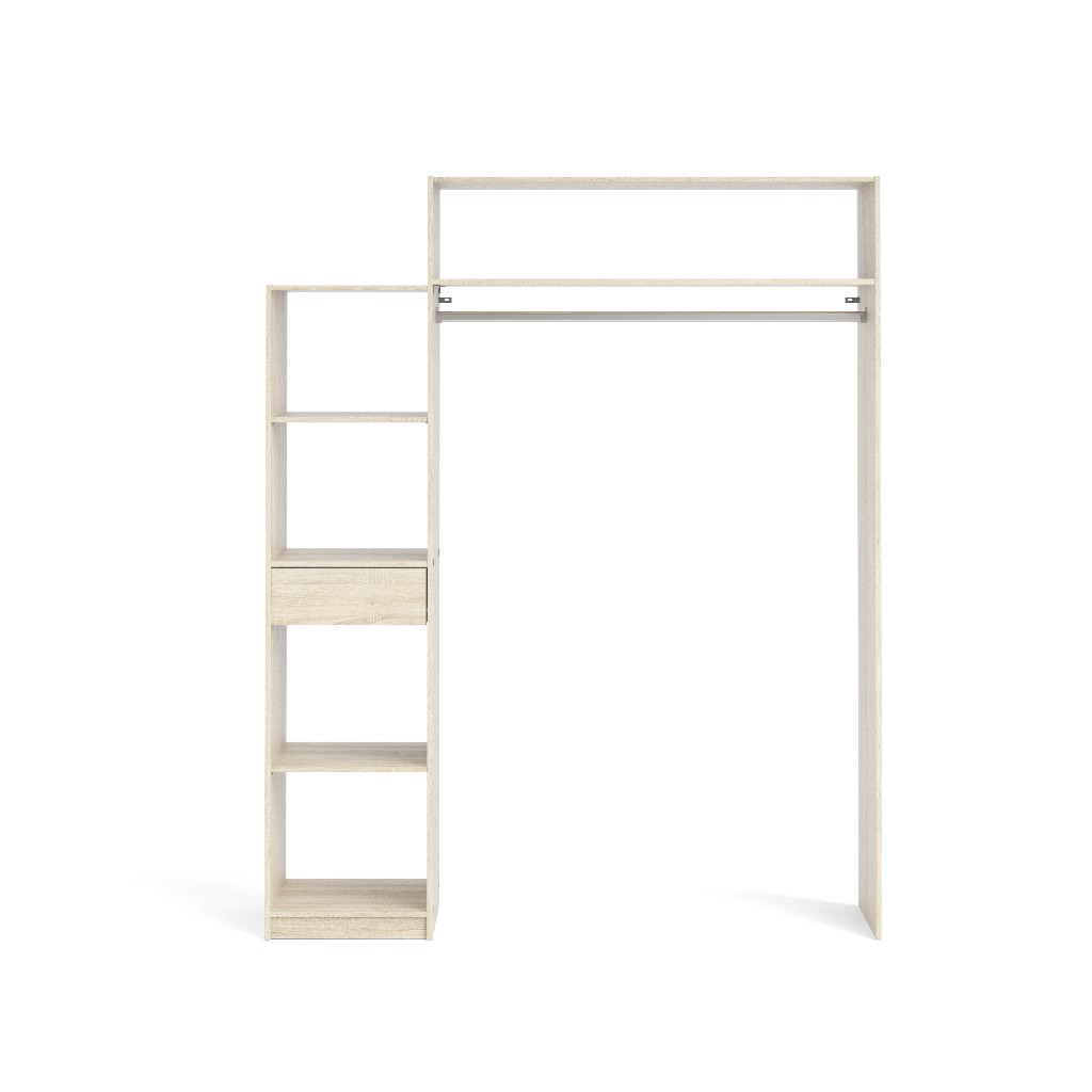 Lola 1 Drawer, 5 Shelf Wardrobe with Hanging Rod in Oak Structure - Tvilum 93079ak