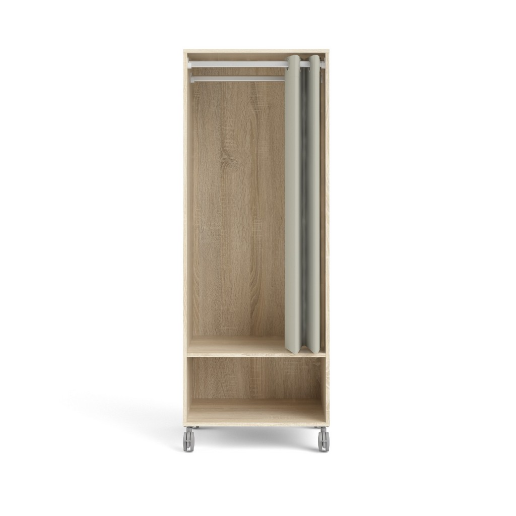 Lola 1 Shelf Mobile Wardrobe with Hanging Rod and Curtain in Oak Structure/Natural Fabric - Tvilum 93153akeh