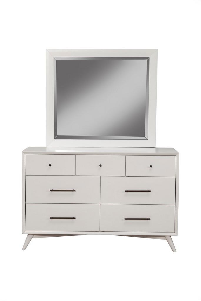 Flynn Mid Century Modern Mirror In White - Alpine Furniture 966-W-06
