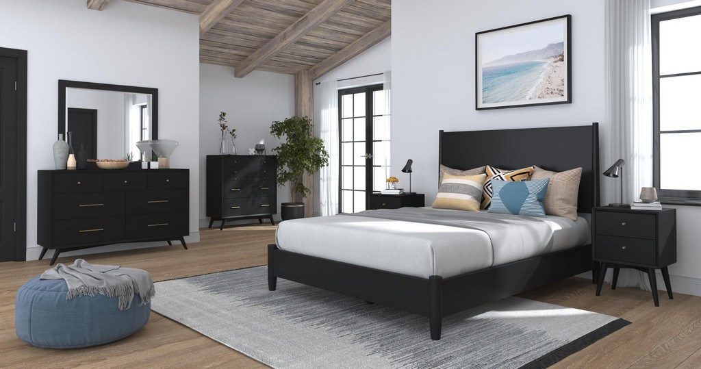 Flynn Queen Panel Bed in Black - Alpine Furniture 966BLK-01Q