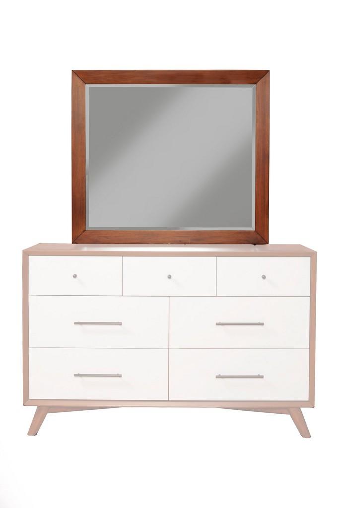 Flynn Mid Century Modern Two Tone Mirror In Acorn/White - Alpine Furniture 999-06