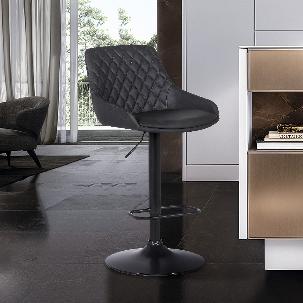 Anibal Contemporary Adjustable Barstool in Black Powder Coated Finish & Grey Faux Leather - Armen Living LCANSWBABLGR