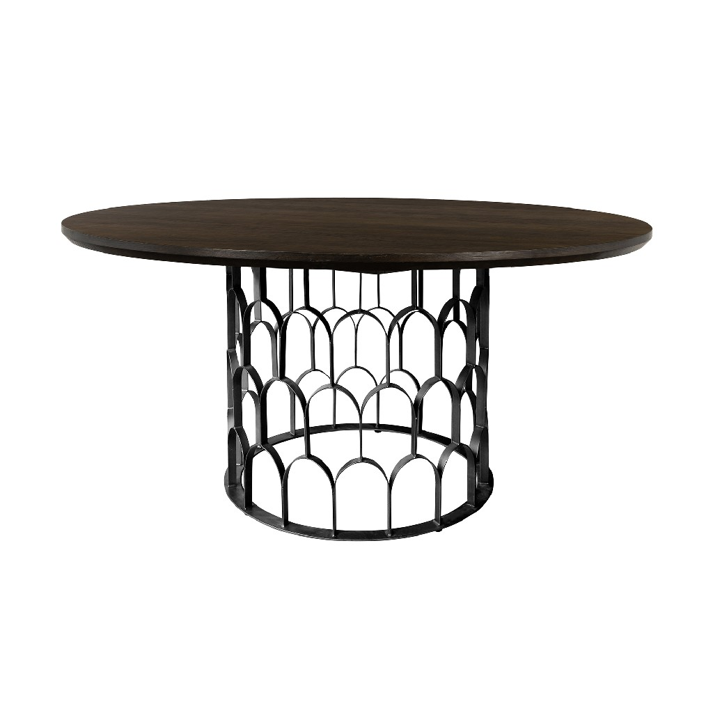 Armen Living Oak Metal Dining Table Round