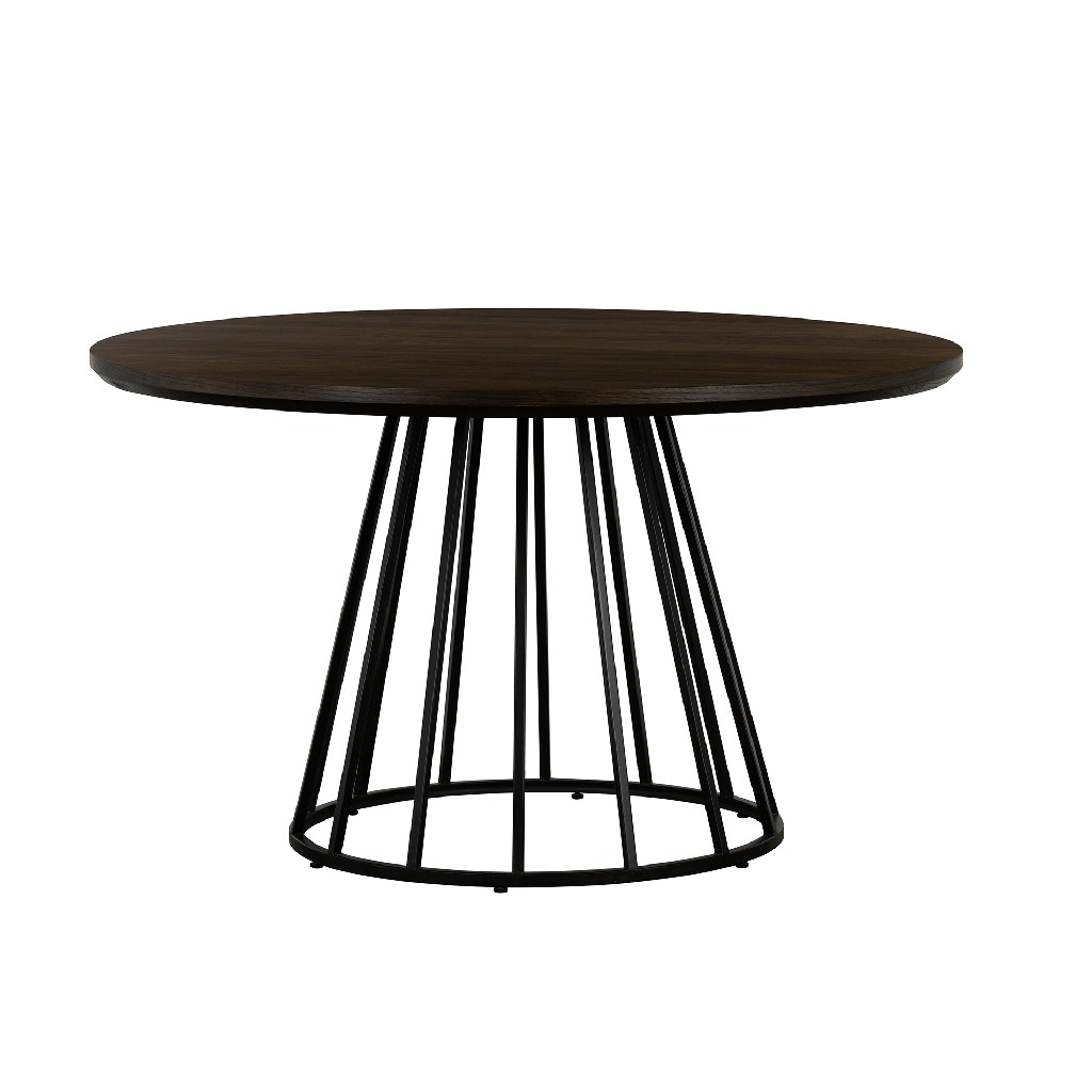 Oak Metal Round Dining Table
