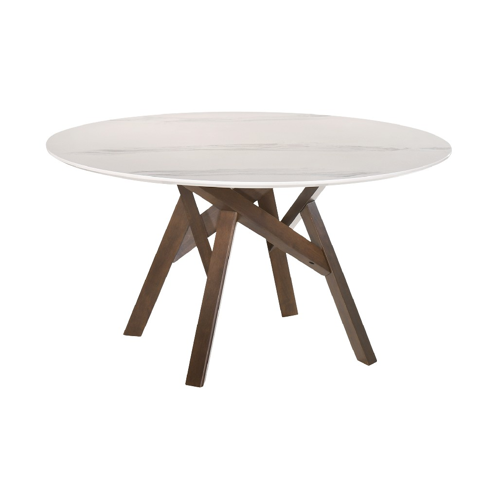 Armen Living Dining Table Round Marble Walnut Legs