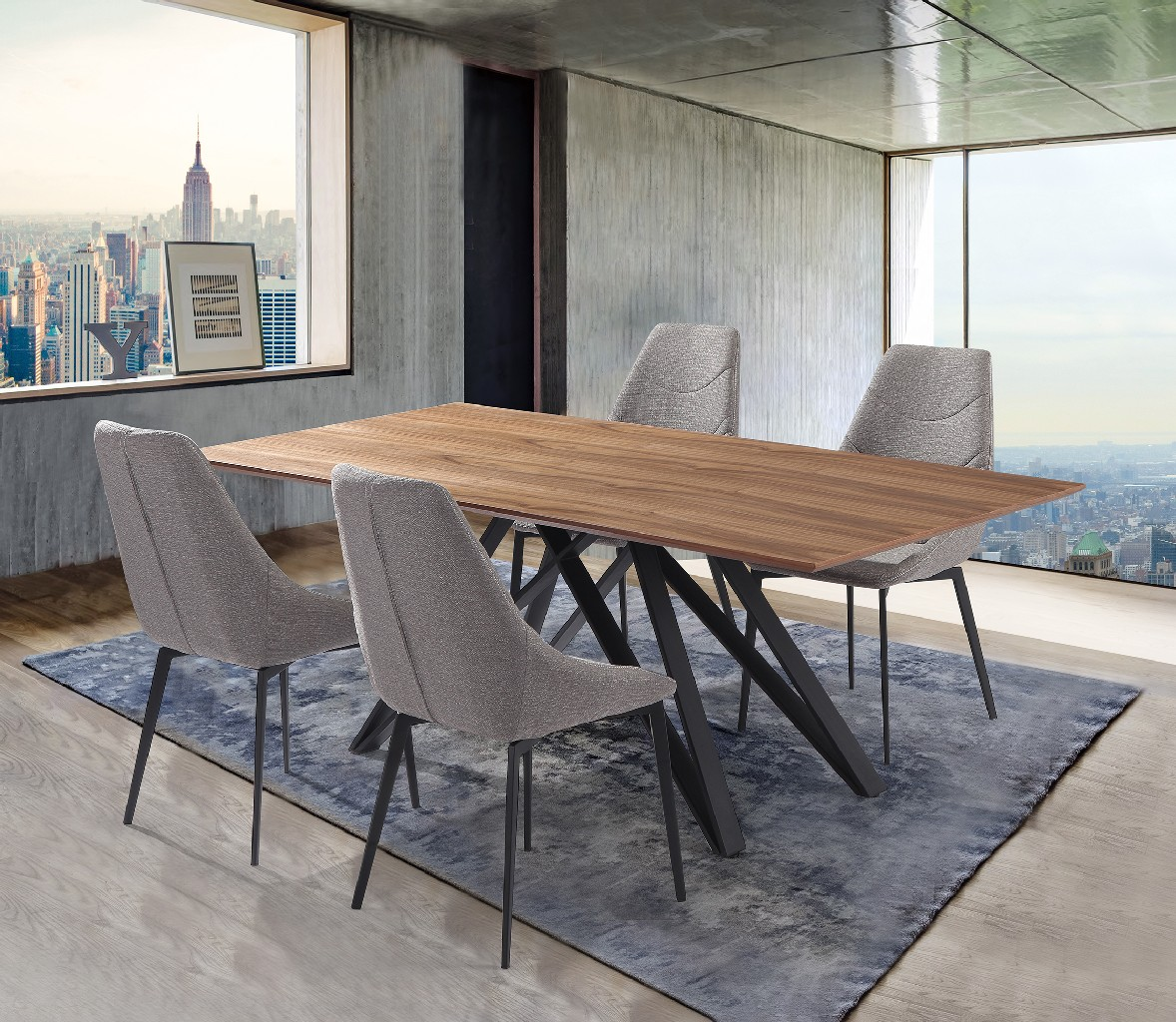 Armen Living Walnut Wood Dining Set