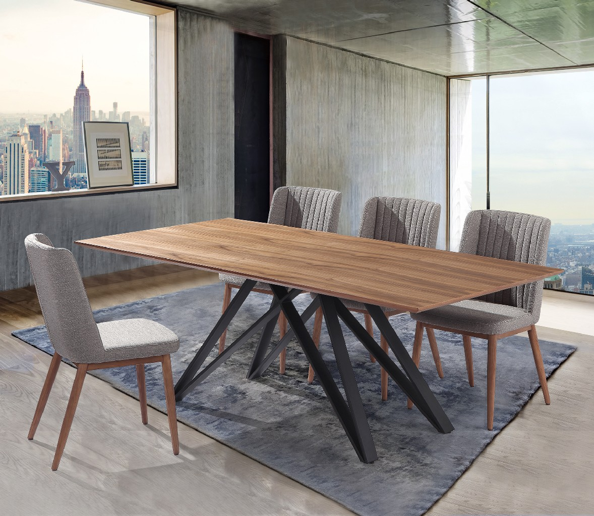 Armen Living Wade Walnut Wood Dining Set