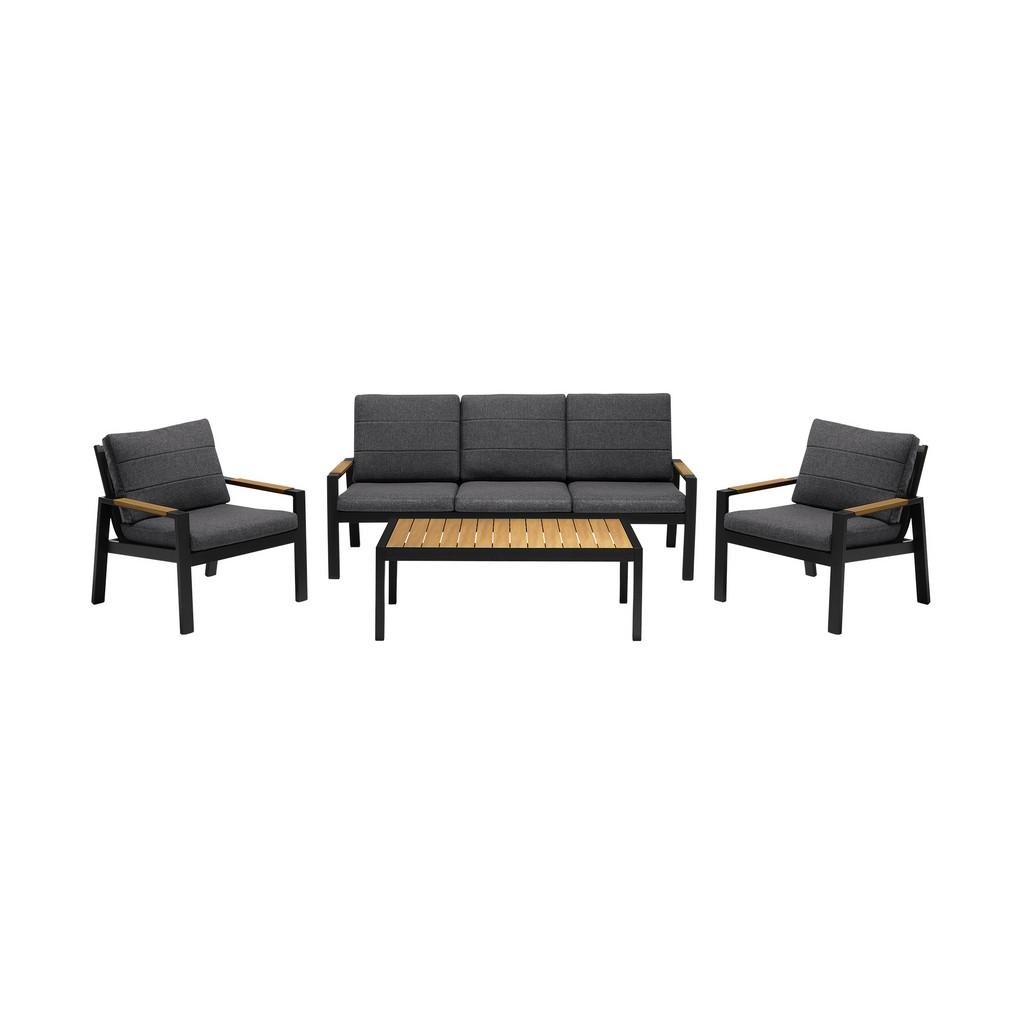 Panama Outdoor Black Aluminum Sofa Seating Set Grey Olefin
