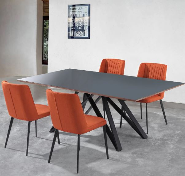 Armen Living Glass Metal Dining Set