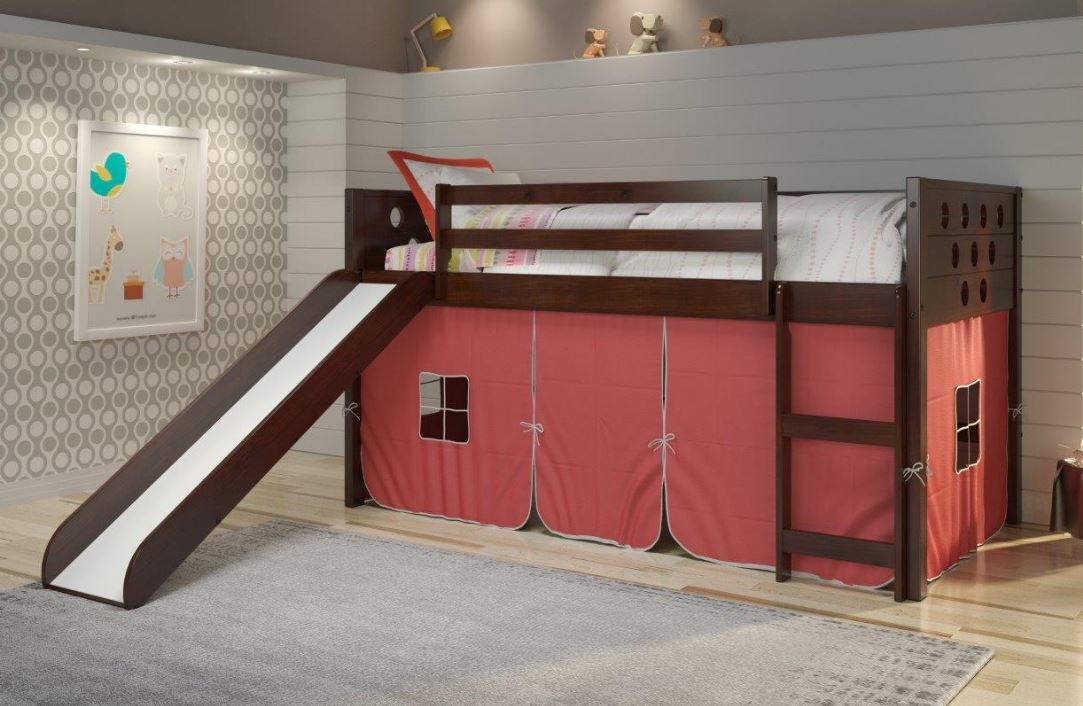 Circles Dark Cappuccino Low Twin Loft w/ Slide & Red Tent - Donco 780A-TCP_750C-TR_785-CP