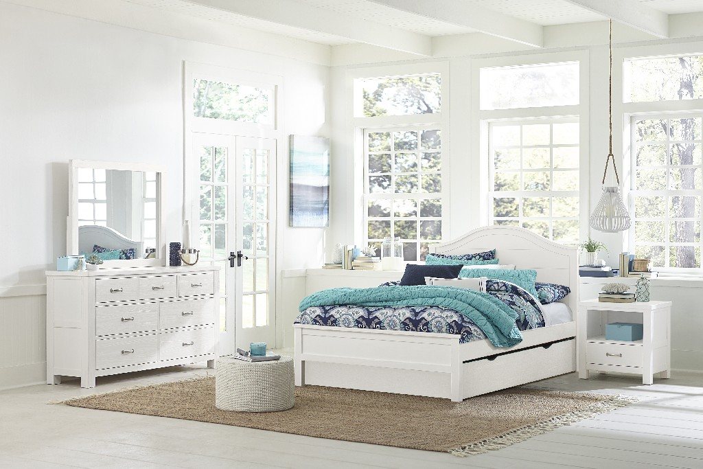 Hillsdale Full Arch Bed Trundle White Wood
