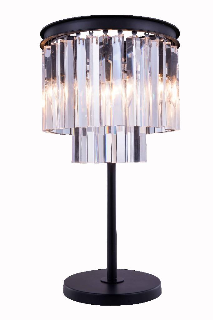 Elegant Lighting Light Matte Black Table Lamp Clear Royal Cut Crystal