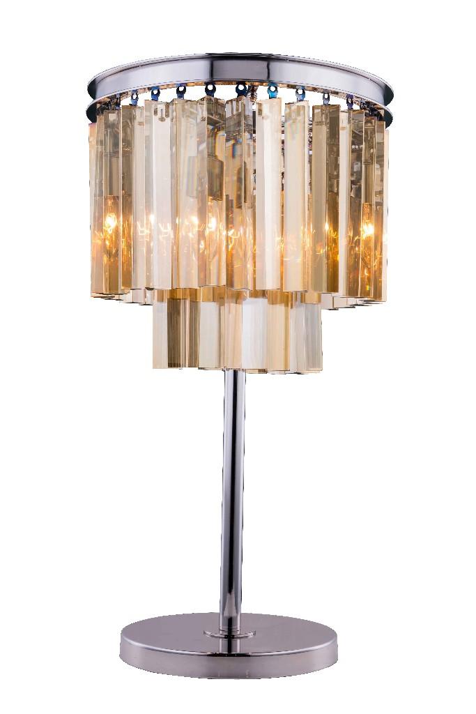 Elegant Lighting Light Polished Nickel Table Lamp Golden Teak
