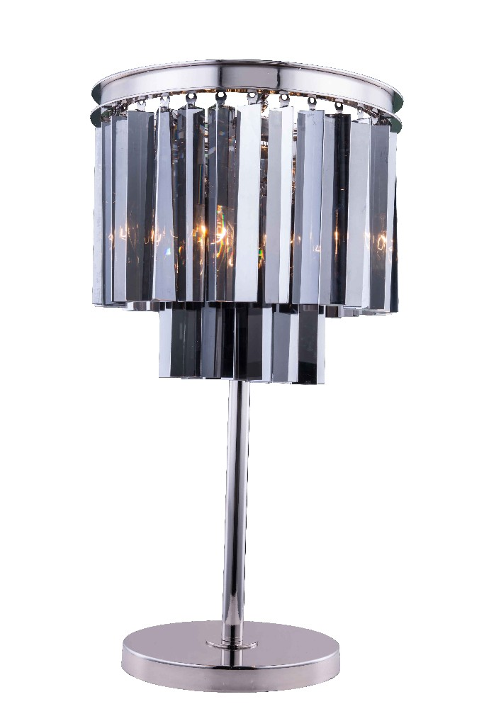 Elegant Lighting Light Polished Nickel Table Lamp Silver Shade