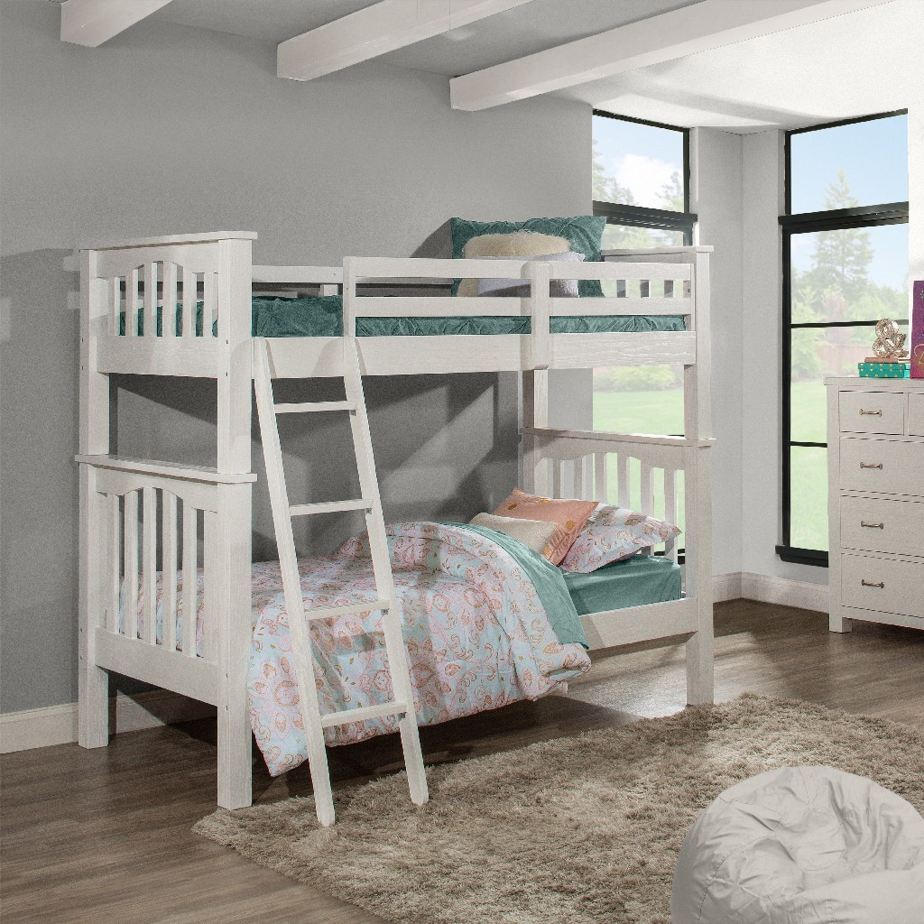 Twin Twin Bunk Bed White Wood Hillsdale