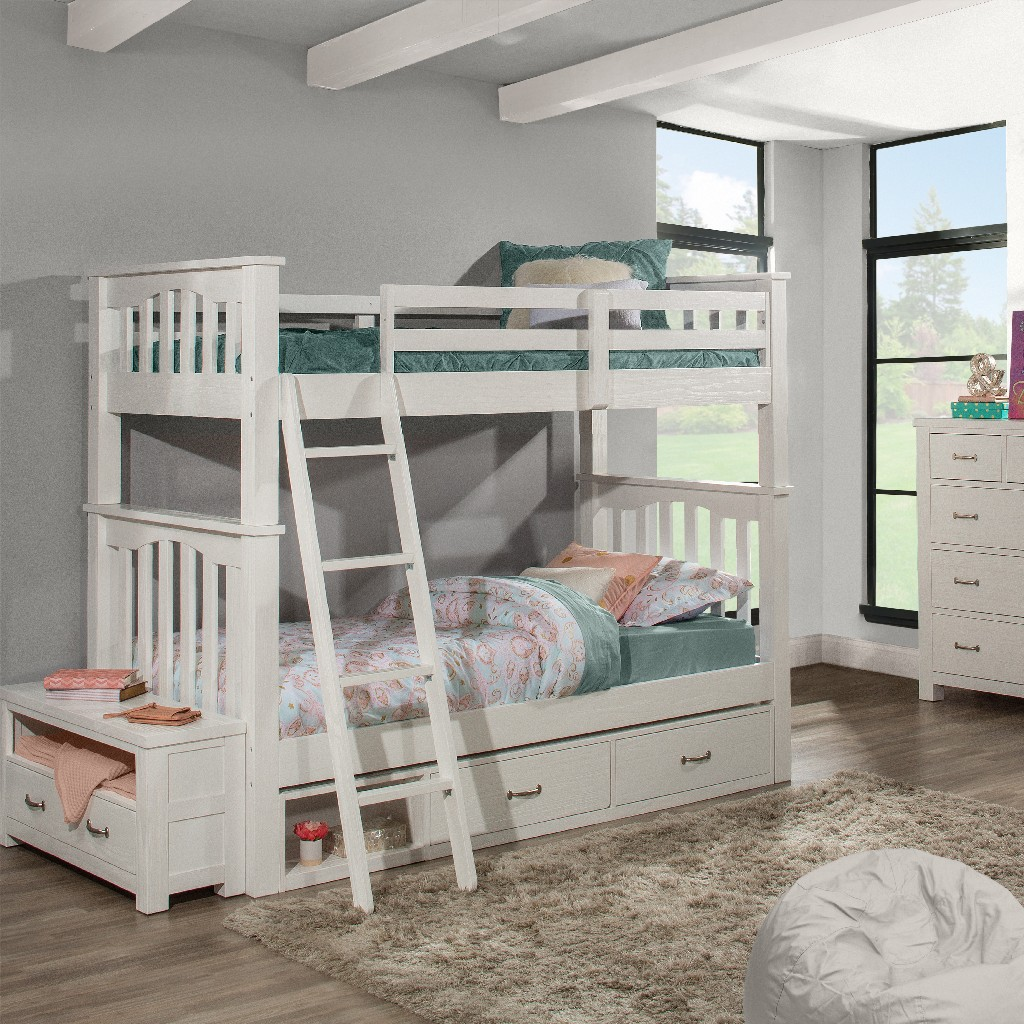 Twin Twin Bunk Bed Two Storage Units White Wood Hillsdale