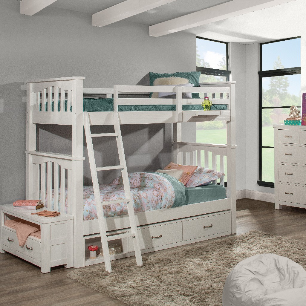 Twin Twin Bunk Bed Two Storage Units Hanging Nightstand White Wood Hillsdale