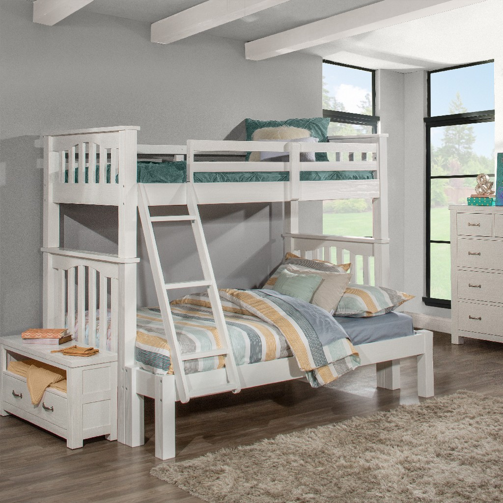 Hillsdale Twin Over Full Extension Bunk Bed White Wood