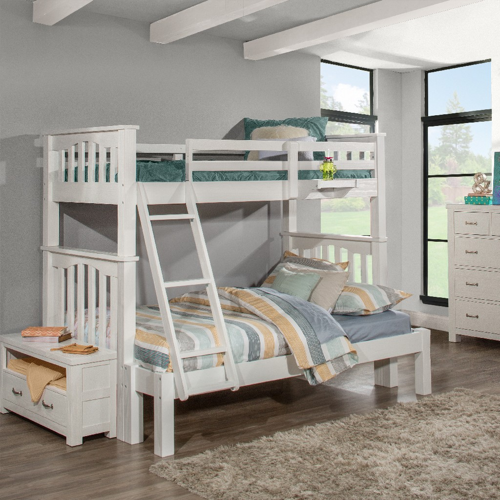 Twin Full Extension Bunk Bed Hanging Nightstand White Wood Hillsdale