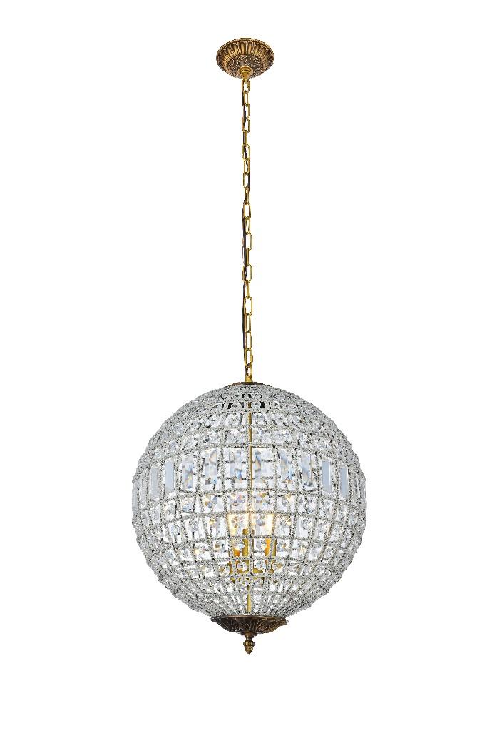 Elegant Lighting Olivia Light French Gold Pendant Clear Royal Cut Crystal