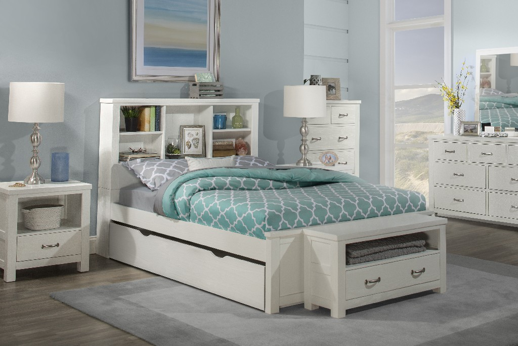 Hillsdale Bookcase Full Bed Trundle White Wood