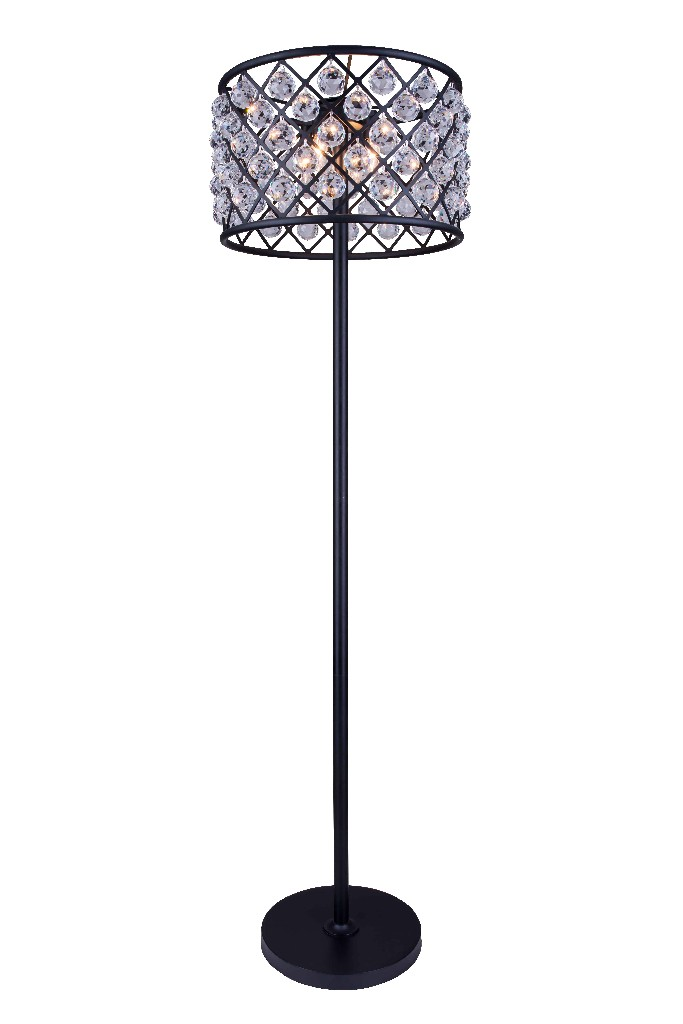 Elegant Lighting Light Matte Black Floor Lamp Clear Royal Cut Crystal