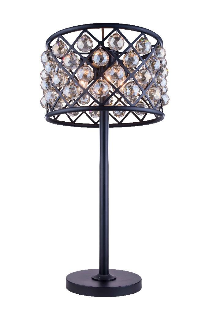 Elegant Lighting Light Matte Black Table Lamp Golden Teak Smoky Royal Cut Crystal