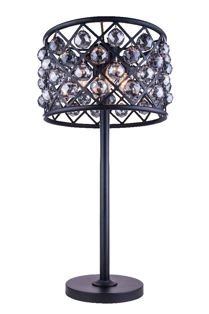 Elegant Lighting Light Matte Black Table Lamp Silver Shade Grey Royal Cut Crystal