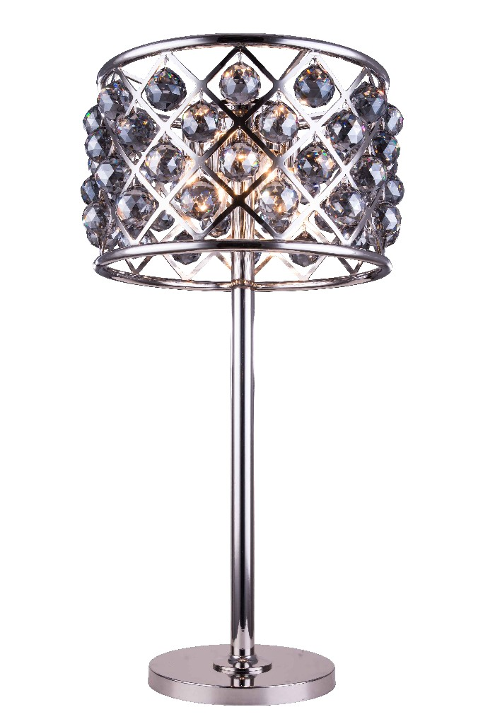 Elegant Lighting Light Polished Nickel Table Lamp Silver Shade Grey