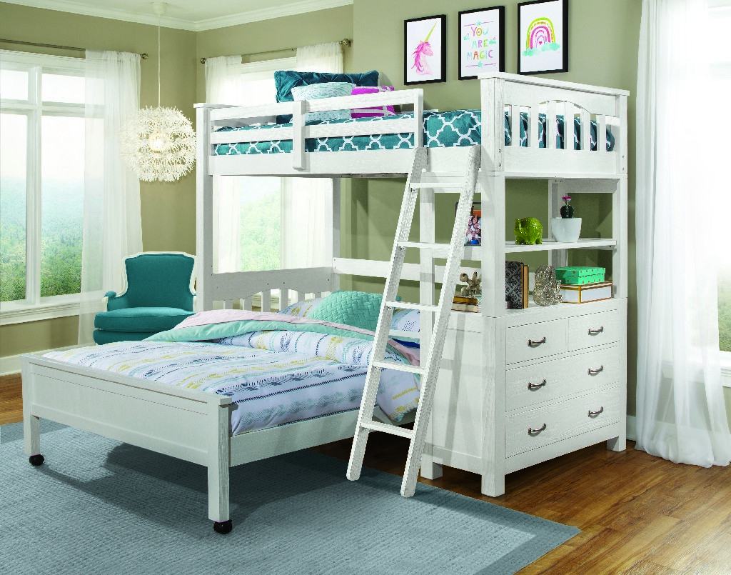 Twin Loft Bed Full Lower Bed White Wood Hillsdale