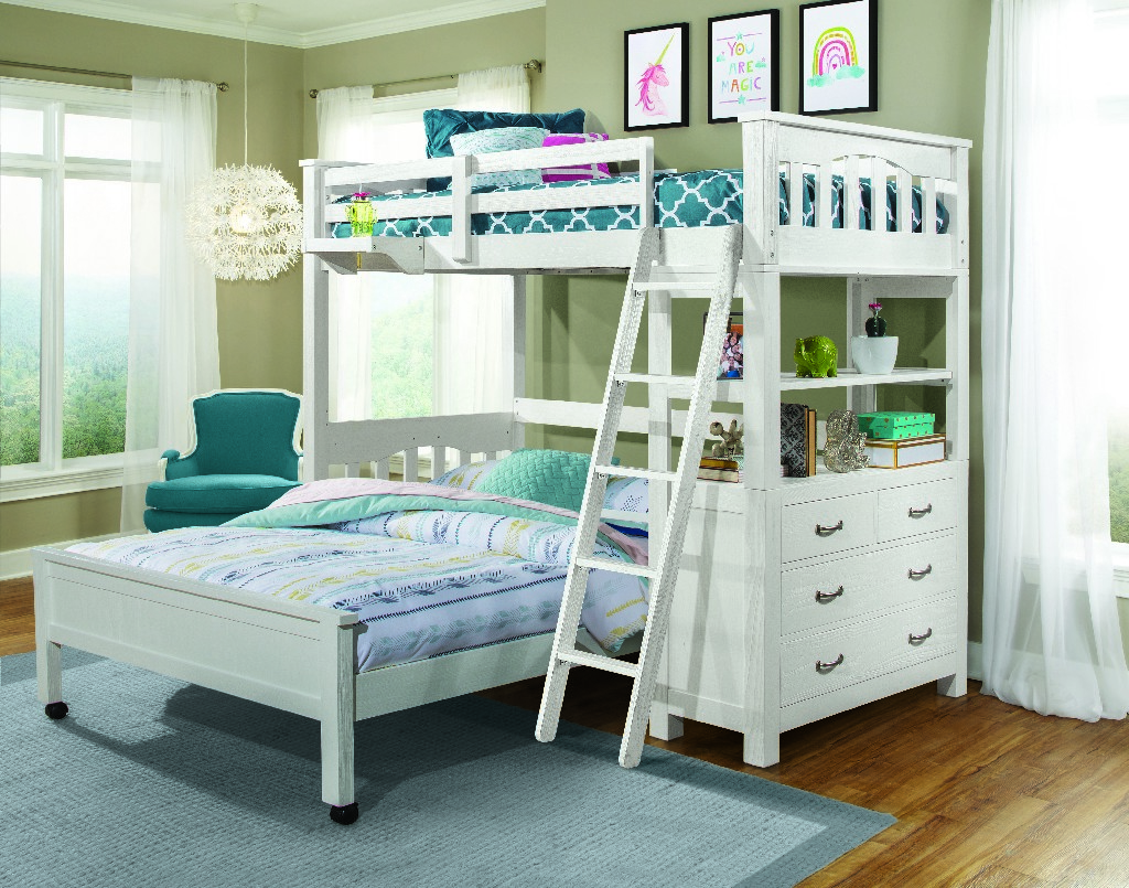 Twin Loft Bed Full Lower Bed Hanging Nightstand White Wood Hillsdale